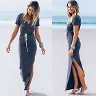 Sexy Women Summer Beach Casual Short Sleeve V Neck Slim Split Maxi Long Dress