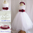 Gorgeous white/apple red satin tulle wedding flower girl party dress all sizes
