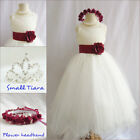 Lovely Ivory/apple red satin pageant wedding flower girl party dress all sizes