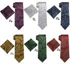 "Landisun Paisleys Mens 100% Silk Neck Tie Set: Tie+Hanky+Cufflinks 3.25""Wx59""L"