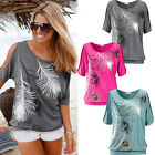 Fashion Women Short Sleeve Loose Casual feather Print T-shirt Tops Blouse