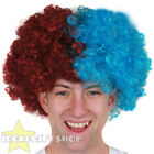 FOOTBALL TEAM SUPPORTERS CLARET AND BLUE AFRO WIG NOVELTY HAIR FOR SPORTS EVENT