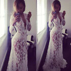 2016 New Designer Maxi Dress Women Lace Embroidery Long Summer Evening Party UK