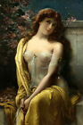 STARLIGHT BEAUTIFUL YOUNG LADY FLOWERS STARS PAINTING BY EMILE VERNON REPRO
