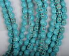 50/100Pcs 6X8MM blue Turquoise skull charms Spacer Beads