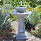 Best Choice Products Solar Power 2 Tier Weathered Bird Bath Fountain Gray