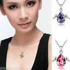 Charming Women's Angel's Wings Crystal Teardrop Pendant Clavicle Chain Necklace