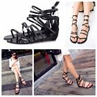 Gladiator Womens Flat Gothic Cross Strap Thong Flip Flops Lace Up Roman Sandals