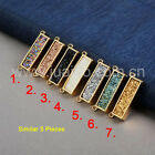 5Pcs Gold Plated Rectangle Bar Titanium Druzy Agate Inlay Connector DIY GZG016