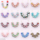 Chic 5/20Pcs  Alloy/Glass Flower Oblate Big Hole Spacer Glass Beads 21Colors