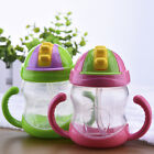 240ml Baby Infant Cup Handle Children Learn Drinking Straw Bottle Sippy Cup