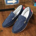 Fashion Men's Korean Moccasin-gommino Linen Rubber Male Casual Shoes Blue/Black