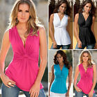 Sexy Women Fashion Summer Vest Knot Sleeveless Blouse Casual Tank Tops T-Shirt O