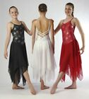 TO ORDER Elegant Cross Back Black Red White Lyrical Dress Dance Costume