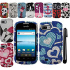 For ZTE Fury N850 DIAMOND BLING CRYSTAL HARD Case Phone Cover + Pen