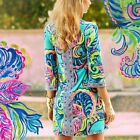 New Lilly Pulitzer BELLAVISTA DRESS M Medium Sea Blue Private Island Jersey NWT