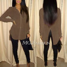 Womens Loose Chiffon Tops Long Sleeve Shirts Casual Blouse UK Size 8-22 Summer