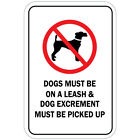 Dogs Must Be On A Leash Dog Excrement Must Be Picked Up Aluminum METAL Sign $21.99 USD on eBay