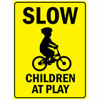 Slow Children At Play With Bicycle Symbol Aluminum METAL Sign $21.99 USD on eBay