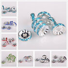 50pcs 10mm Czech Crystal Rhinestones Silver Plated Rondelle Spacer Beads Caps