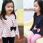 Kids Girls Childs Baby Polka Dot Tops + Stretch Pants 2Pcs Clothes Sets Outfits