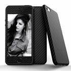 Hybrid 360°Carbon Fiber Rubber&Leather Case+Tempered Glass Cover for iPhone 6/6s