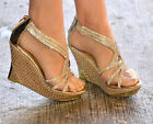 LADIES SPARKLY DIAMANTE DETAIL WEDGE HEEL PLATFORM PEEP TOE STRAPPY SANDALS 3-8