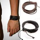 New Wrap Leather Bracelets Mens Braided Rope Fashion Jewelry Accessories WLSG