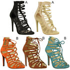 Womens Ladies Lace Up Strappy Sandals Ankle High Heel Stilettos Open Toe Size