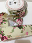 Bertie's Bows 'VINTAGE FLORAL' 50mm - Printed Burlap Frayed edge Linen Ribbon