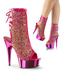 "Delight 1018MS Pink Chrome 6"" High Heel Platform Open Toe Ankle Boot Rhinestone"