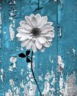 Rustic Modern Floral Bathroom/Bedroom Wall Art Home Decor Matted Picture