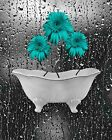 Teal Gray Daisy Flowers, Decorative Bathroom Floral Wall Art Home Picture