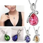 Women Drop Crystal Rhinestones Silver Chain Pendant Necklace Jewelry Free Ship