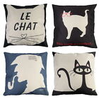 Cartoon Cat Man Letter Cotton Linen Pillow Case Sofa Waist Throw Cushion Cover