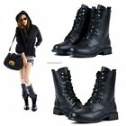 Women Martin Mid Calf Flat Boots Lace Up Black Leather Military Winter Shoes BT5