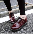 Hot Sale Womens Shoes Patent Leather Lace Up Wing Tip Brogue Breathable Fashion