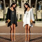 Women Sexy V Collar Casual Chiffon A-line Long Sleeve Cocktail Skirt Mini Dress