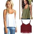 Womens Girl Plain Swing Vest Sleeveless Top Strappy Cami Ladies Plus Size B20E