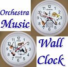 ORCHESTRA Music WALL CLOCK Musician Strings Horns Piano Wind Instruments NEW