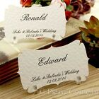 Personalised White Elegant Place Cards/Escort Cards with Holders Wedding/Party