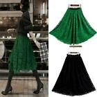 Vintage Women High Waist Double Layer Floral Lace Skirt Elastic Pleated Skirts