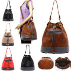 Fashion Large Capacity Drawstring Women Handbags PU Leather Patchwork Bucket Bag