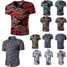 Fashion Mens Casual Shirt Short Sleeve Stylish Print T-shirt Slim Fit Blouse Top