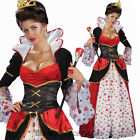 K167 Deluxe Ladies Queen Of Hearts Disney Alice In Wonderland Dress Gown Costume