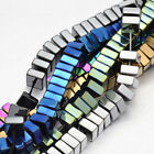 Electroplated Natural Hematite Gemstone Square Beads - 6mm (BD088)  FREE POSTAGE