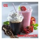 100 x 400ml Plastic Milkshake Smoothie Ice Cream Cups + 100 Dome Lids & Straws