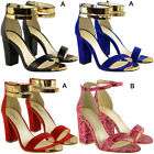 Womens Ladies Block Heel Ankle Strappy Sandals Ladies Peep Toe Party Shoes Size