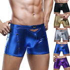 Mens New Arrival Leather-Like Underwear Boxer Briefs Underpants Shorts Trunks