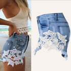 New Women's Ladies High Waist Lace Crochet Shorts Jeans Denim Girls Shorts Pants